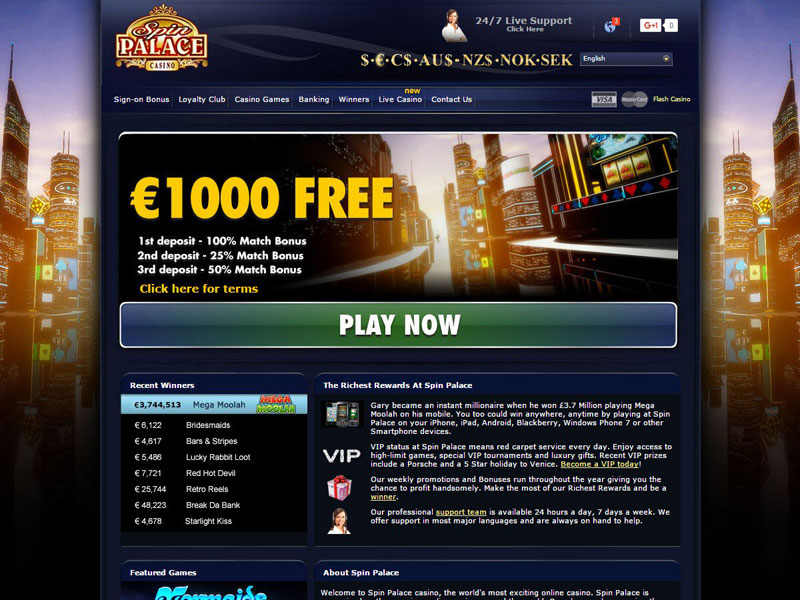Spin Palace Flash Casino Login